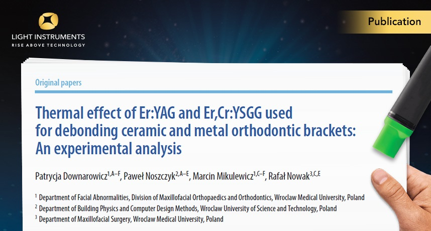 Thermal effect of Er:YAG and Er,Cr:YSGG used for debonding ceramic and metal orthodontic brackets: An experimental analysis